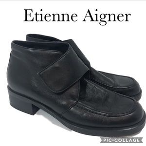 Etienne Aigner Expedition Black Leather Boot 7.5